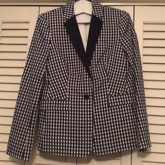 J. Crew Jackets & Blazers - JCrew women's navy blue/white print blazer
